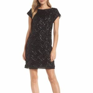 Eliza J Sequin sheath dress black